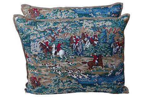 Equestrian Scene Pillows, Pair