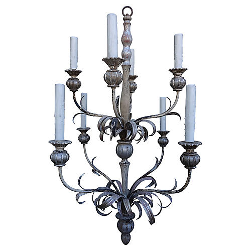 8-Light Silver Gilt Chandelier