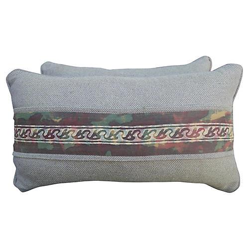 Fortuny Border Lumbar Pillows, Pair