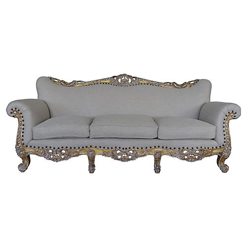 19th-C. French Carved Giltwood Sofa