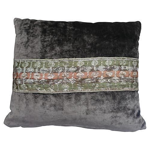 Grey Pillows w/ Indian Sari Accent, Pair