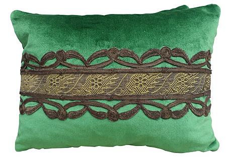 Green Silk Velvet Pillows w/ Trim
