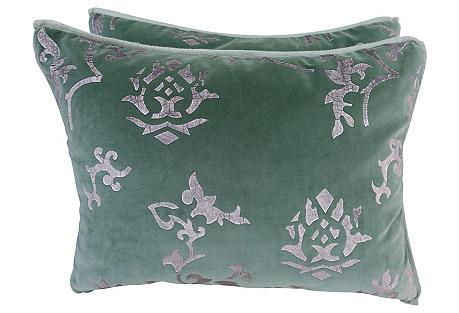 Silver & Green Velvet Pillows, Pair