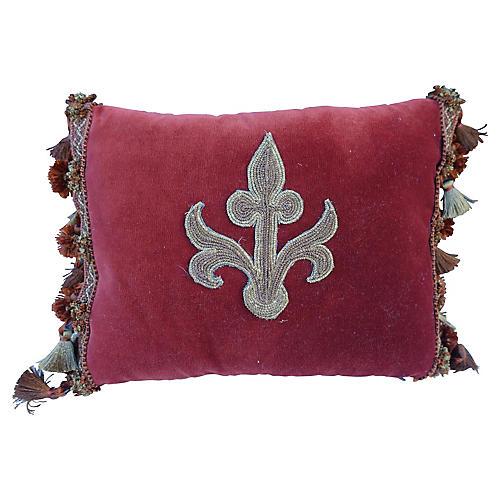 Burgundy Velvet Pillow w/ Fleur Dy Lis