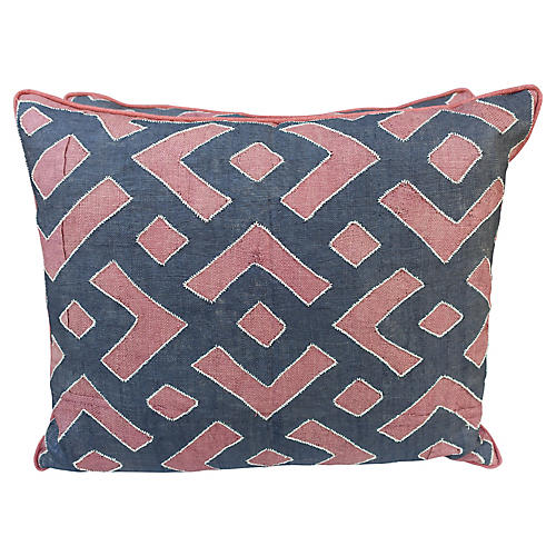 Rust & Black Kuba Cloth Pillows, Pair
