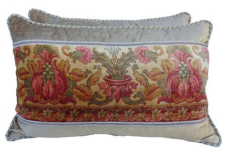 Printed Velvet Pillows, Pair