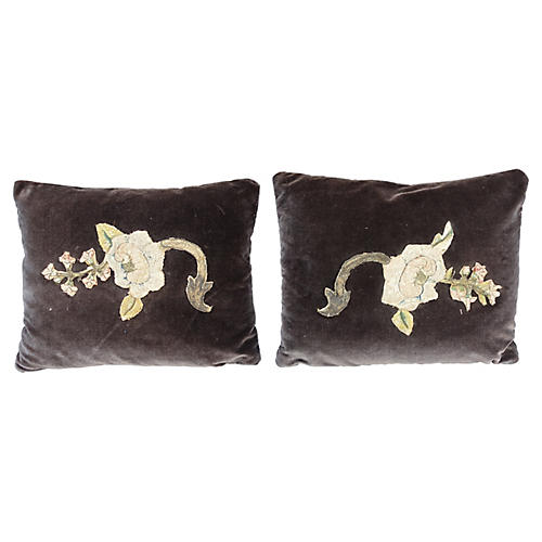Brown Velvet Pillows w/ Antique Applique