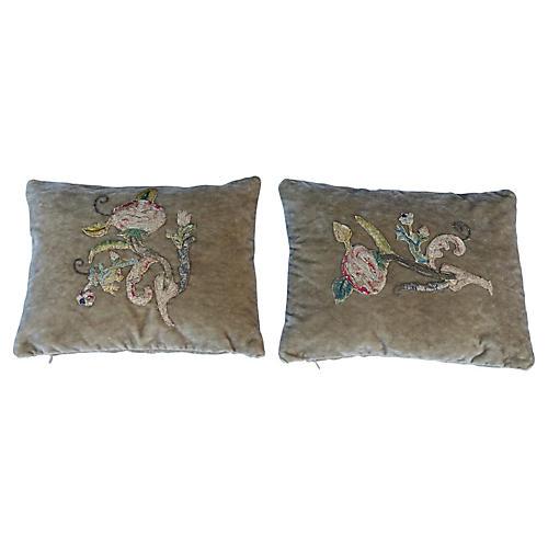 Pair of Velvet Pillows w/ Appliqués
