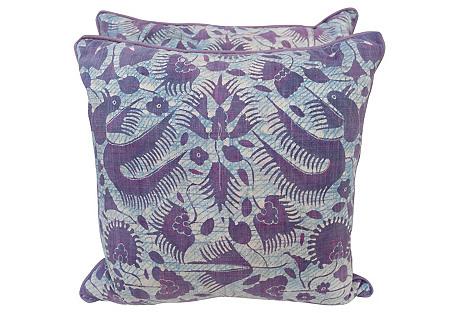 Pair of Batik Textile Pillows