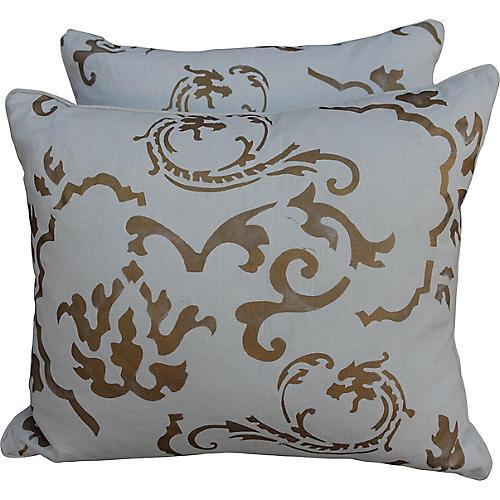 Gold Stenciled Linen Pillows, Pair