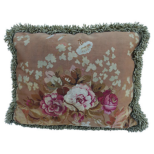 19th Century Aubusson Tapestry Pillow