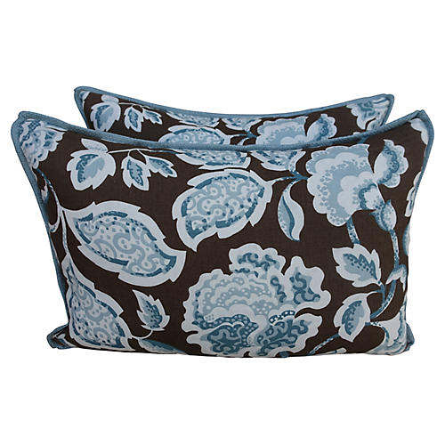 Blue & Brown Floral Pillows, Pair