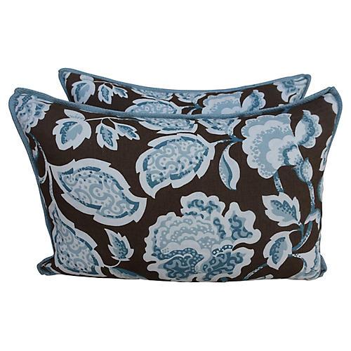 Blue & Brown Floral Pillows, Pair
