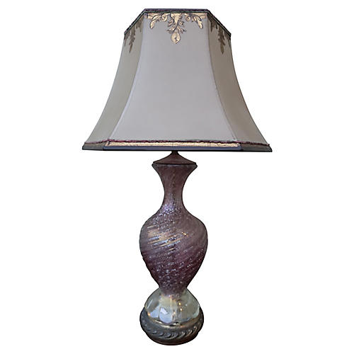 Pink Murano Lamp w/ Parchment Shade