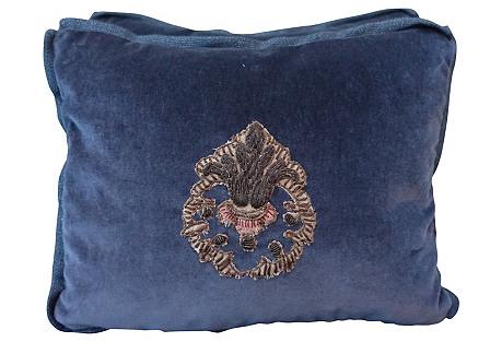 Blue Silk Mohair Appliqued Pillows, Pair