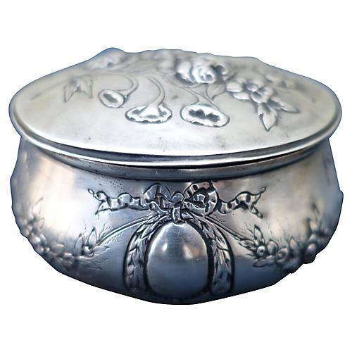 Silver Repousse Lidded Vanity Jar
