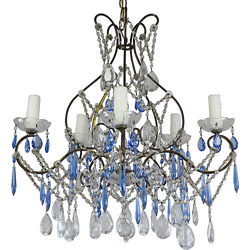 Cobalt Blue & Clear Crystal Chandelier