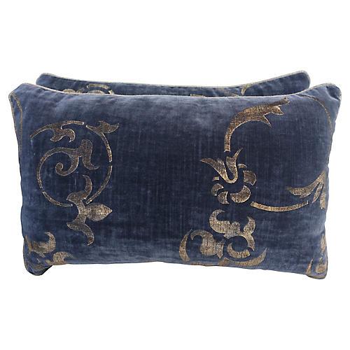 Stenciled Gray Velvet Pillows, Pair