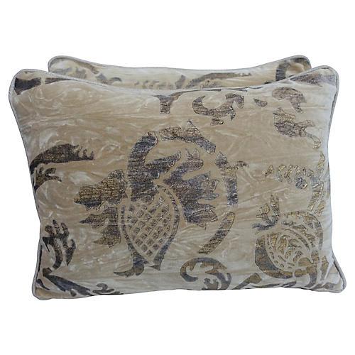 Gold Stenciled Velvet Pillows, Pair