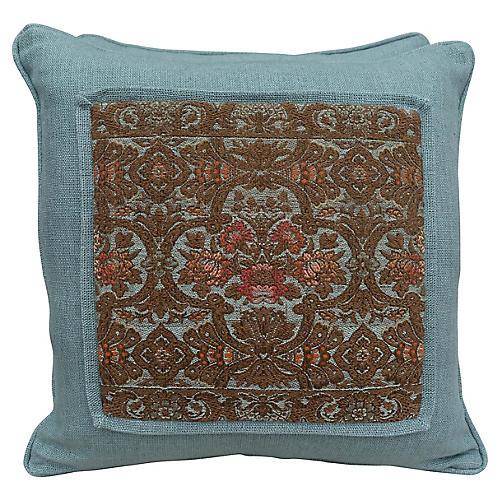 Metallic Brocade & Linen Pillows, Pair