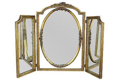 French Carved 3-part Gilt Vanity Mirror