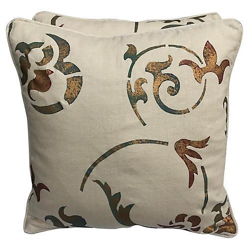 Pair Of Cream Stenciled Linen Pillows