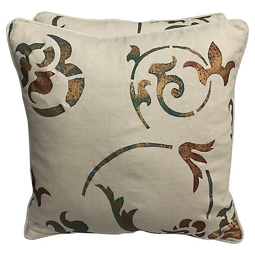 Pair Of Cream Stenciled Linen Pillows