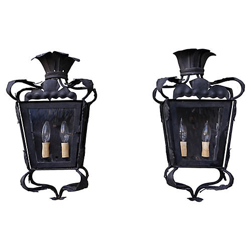 Wrought Iron Lantern Sconces, Pair