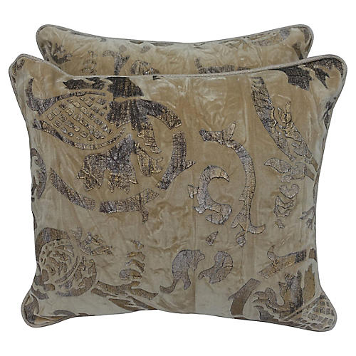 Gold Stenciled Velvet Pillows, Pair