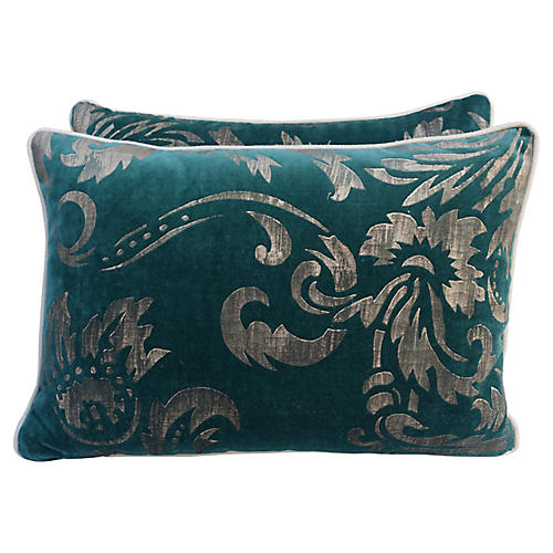 Gold Stenciled Teal Velvet Pillows, Pair