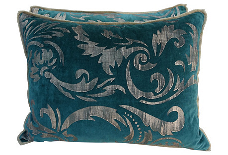 Gold Stenciled Teal Velvet Pillows, Pair