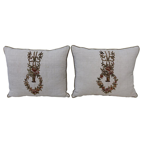 Applique'd Linen Pillows, Pair