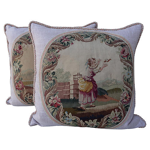 Pillows w/ 19th C. French Aubusson, Pair