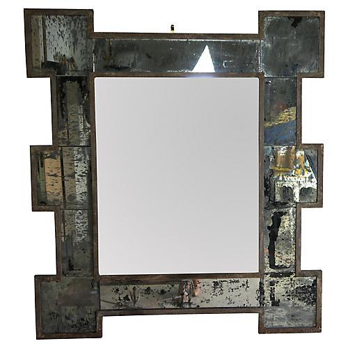 Metal Framed Mirror w/ Antiqued Glass