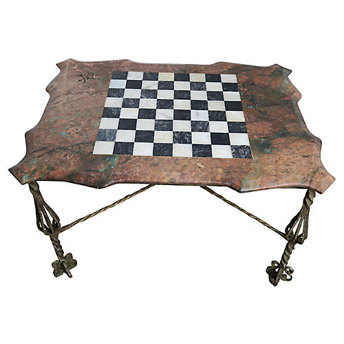 Iron & Marble Chess Board Top Table