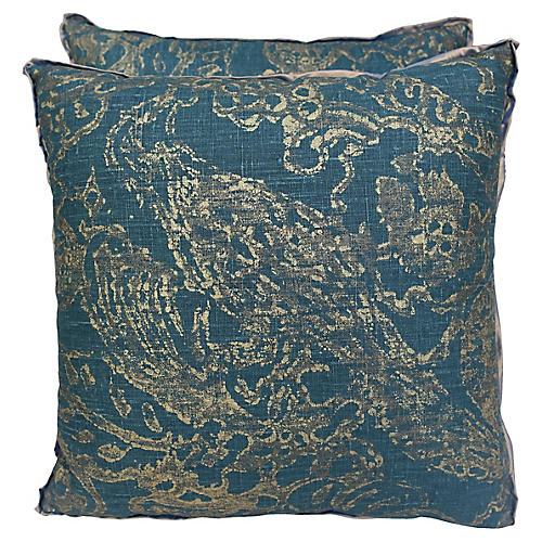 Teal & Gold Stenciled Pillows, Pair
