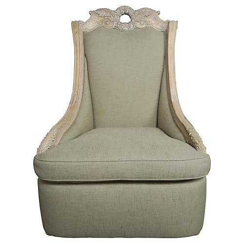 Monumental Italian Carved Wood Armchair