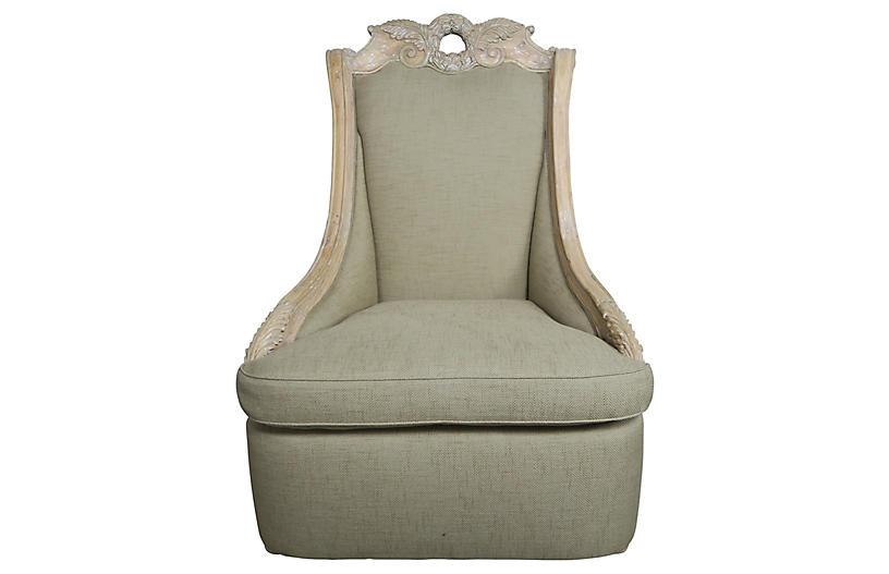 Monumental Italian-Style Carved Armchair