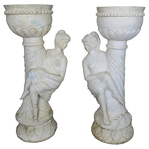 Pair of Carrera Marble Figural Planters