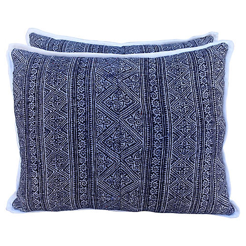 Blue & White Batik Pillows, Pair