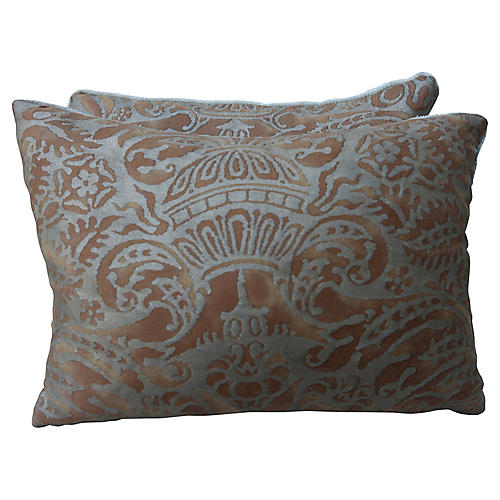 Bronze & Gold Fortuny Pillows, Pair