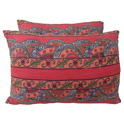 Vibrant Colored Cotton Pillows, Pair