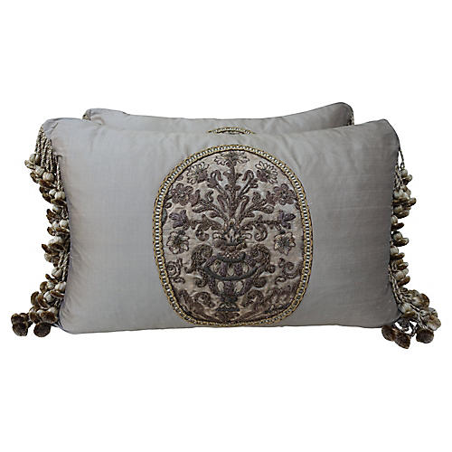 French Metallic Embroidered Pillows, Pr