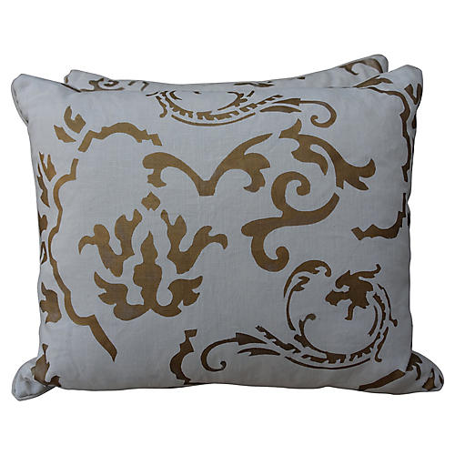 A Pair of White and Gold Nomi Pillows