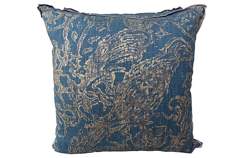 Stenciled Teal Linen Pillows, Pair
