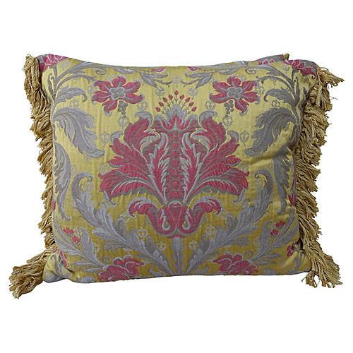 Silk & Metallic Damask Pillow, Pair