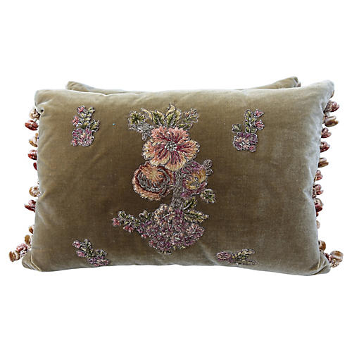 Brown Silk Velvet Appliqued Pillows, Pr