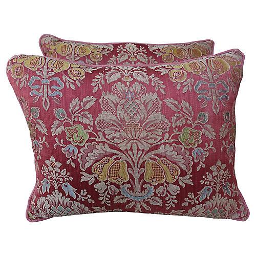 Vintage Floral Damask Pink Pillows, Pair