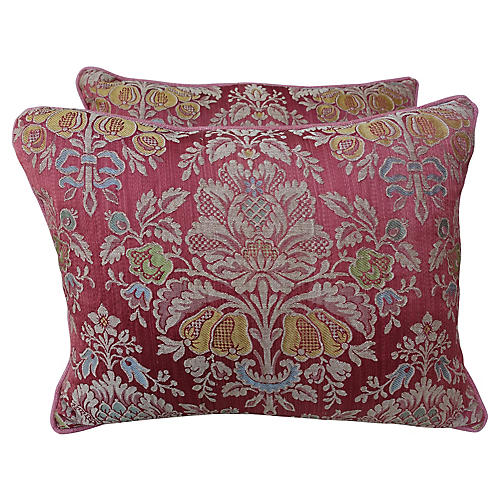 Vintage Floral Damask Pink Pillows, Pair