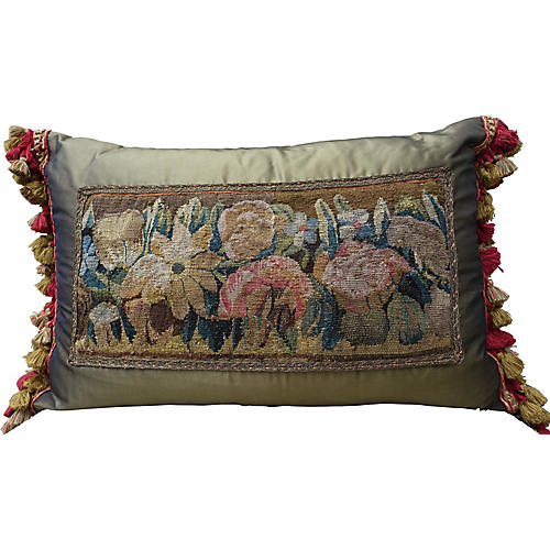 18th C. Tapestry & Silk Pillow w/ Fringe